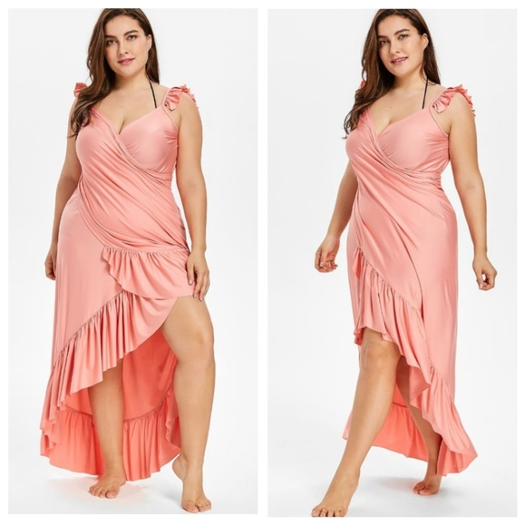 Maxi Plus Size Flounce Wrap Beach Dress Boutique